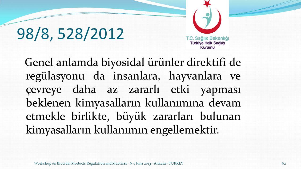 98/8, 528/2012 Genel anlamda biyosidal ürünler direktifi de regülasyonu da insanlara, hayvanlara ve çevreye daha az zararlı etki yapması beklenen kimy