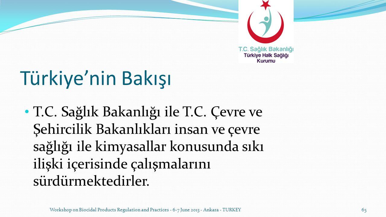 Türkiye'nin Bakışı T.C. Sağlık Bakanlığı ile T.C. Çevre ve Şehircilik Bakanlıkları insan ve çevre sağlığı ile kimyasallar konusunda sıkı ilişki içeris