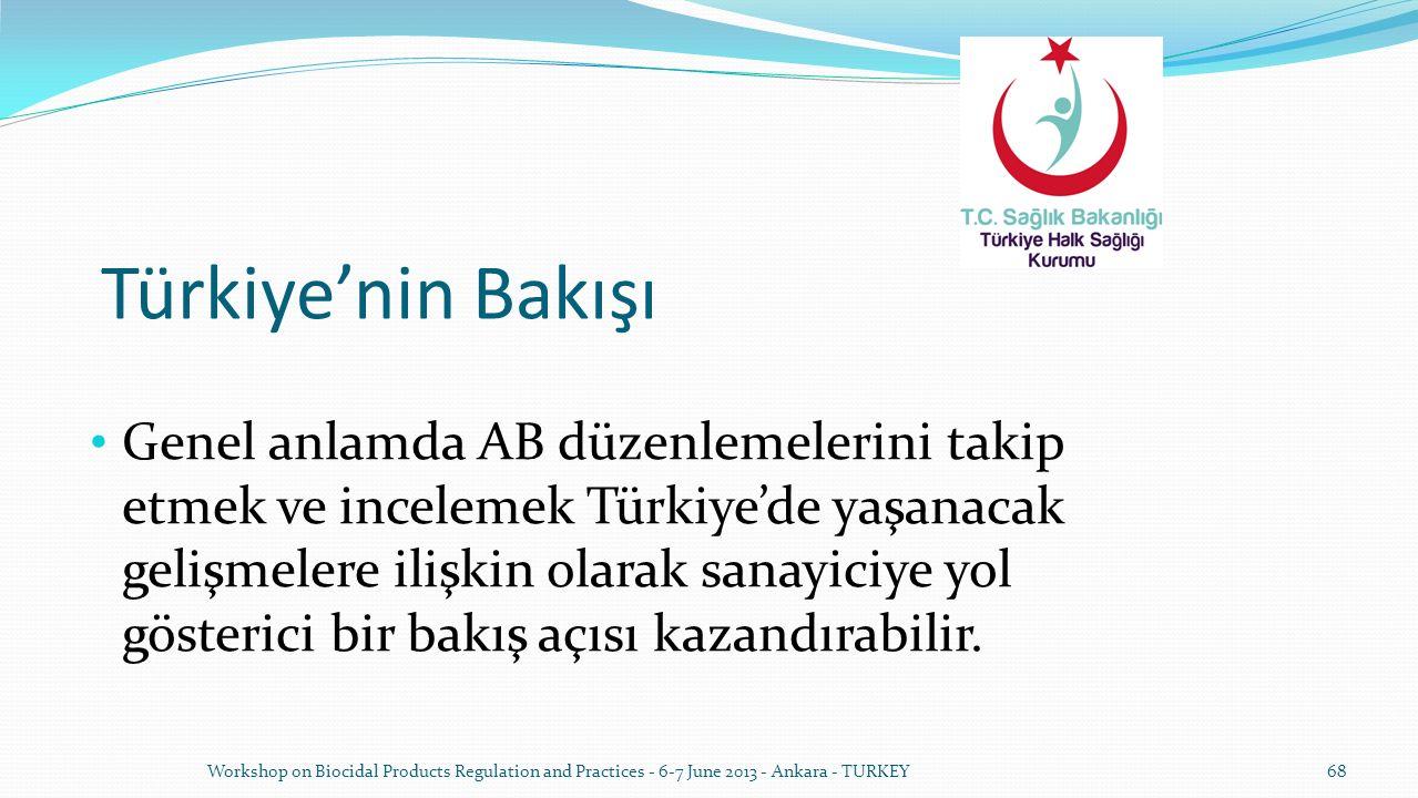 Türkiye'nin Bakışı Genel anlamda AB düzenlemelerini takip etmek ve incelemek Türkiye'de yaşanacak gelişmelere ilişkin olarak sanayiciye yol gösterici