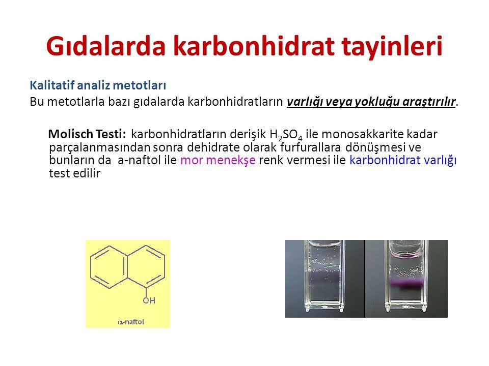 Gıdalarda karbonhidrat tayinleri Kalitatif analiz metotları Bu metotlarla bazı gıdalarda karbonhidratların varlığı veya yokluğu araştırılır. Molisch T