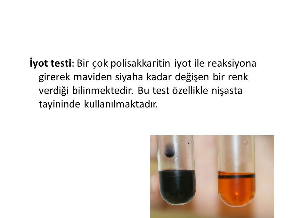 İyot testi: Bir çok polisakkaritin iyot ile reaksiyona girerek maviden siyaha kadar değişen bir renk verdiği bilinmektedir. Bu test özellikle nişasta