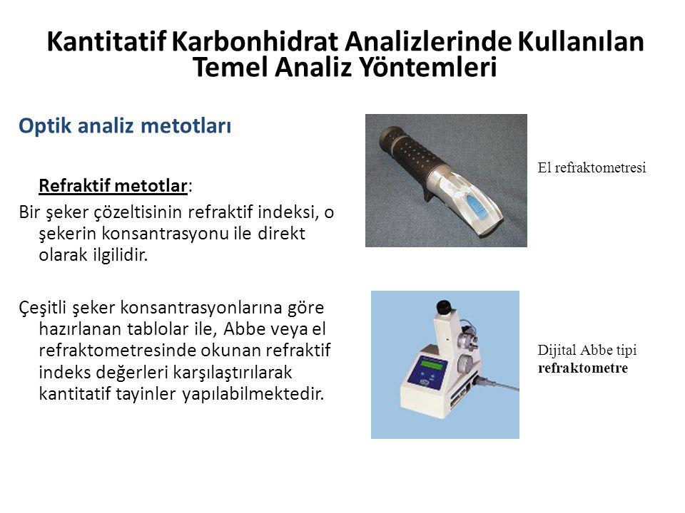 Kantitatif Karbonhidrat Analizlerinde Kullanılan Temel Analiz Yöntemleri Optik analiz metotları Refraktif metotlar: Bir şeker çözeltisinin refraktif i