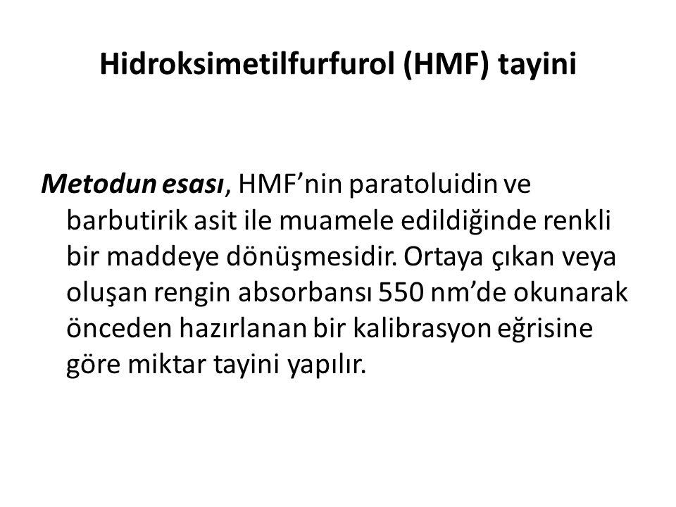 Hidroksimetilfurfurol (HMF) tayini Metodun esası, HMF'nin paratoluidin ve barbutirik asit ile muamele edildiğinde renkli bir maddeye dönüşmesidir. Ort