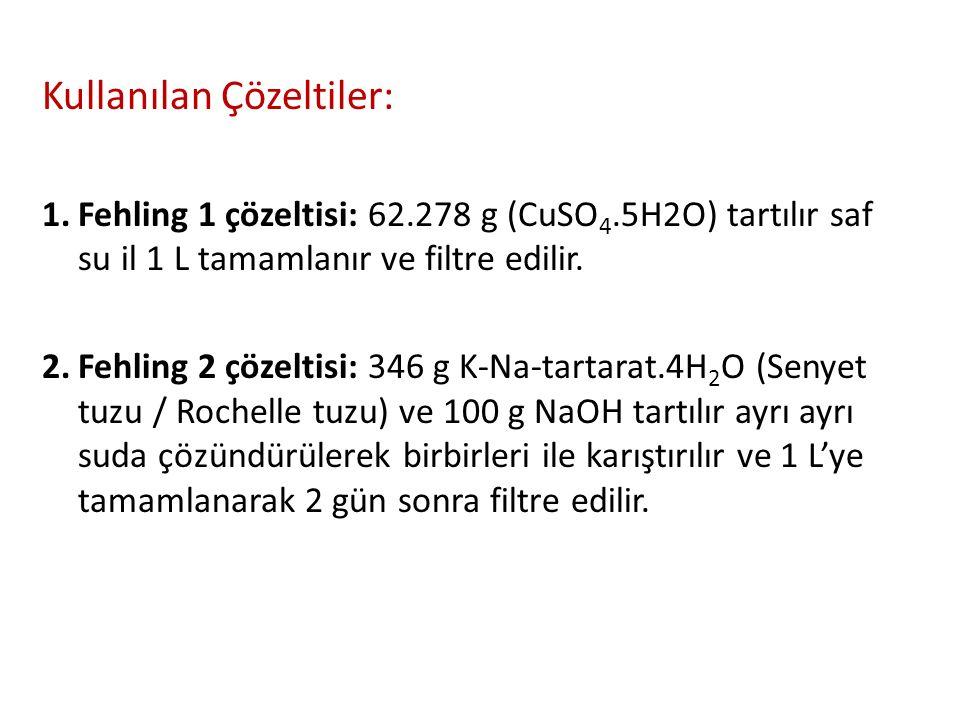 Kullanılan Çözeltiler: 1.Fehling 1 çözeltisi: 62.278 g (CuSO 4.5H2O) tartılır saf su il 1 L tamamlanır ve filtre edilir. 2.Fehling 2 çözeltisi: 346 g