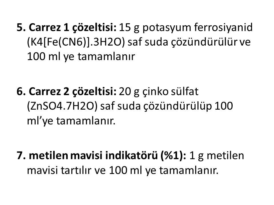 5. Carrez 1 çözeltisi: 15 g potasyum ferrosiyanid (K4[Fe(CN6)].3H2O) saf suda çözündürülür ve 100 ml ye tamamlanır 6. Carrez 2 çözeltisi: 20 g çinko s