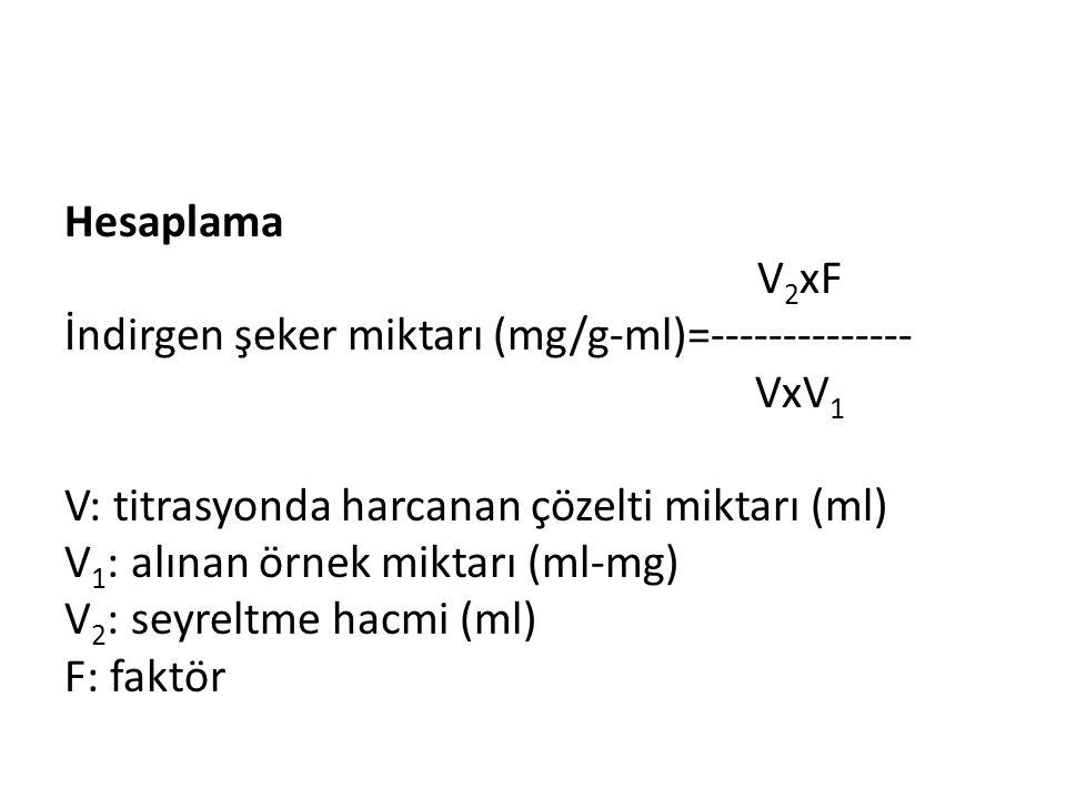 Hesaplama V 2 xF İndirgen şeker miktarı (mg/g-ml)=-------------- VxV 1 V: titrasyonda harcanan çözelti miktarı (ml) V 1 : alınan örnek miktarı (ml-mg)