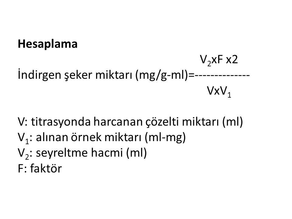Hesaplama V 2 xF x2 İndirgen şeker miktarı (mg/g-ml)=-------------- VxV 1 V: titrasyonda harcanan çözelti miktarı (ml) V 1 : alınan örnek miktarı (ml-