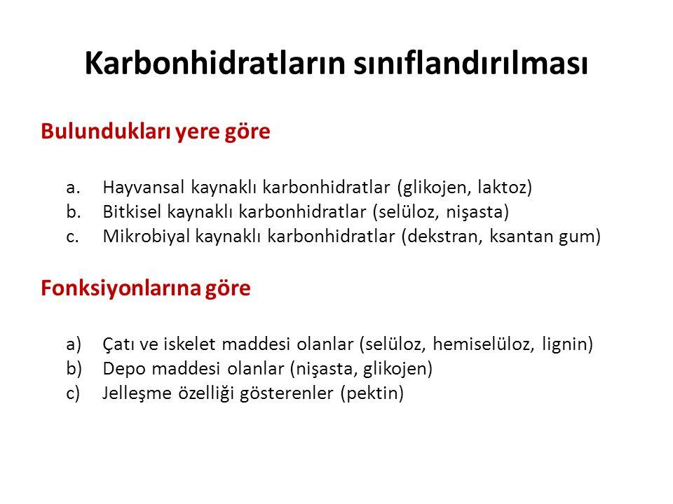 Bulundukları yere göre a.Hayvansal kaynaklı karbonhidratlar (glikojen, laktoz) b.Bitkisel kaynaklı karbonhidratlar (selüloz, nişasta) c.Mikrobiyal kay