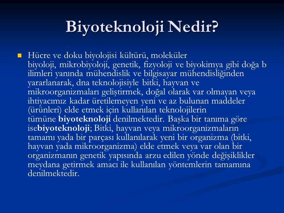 Biyoteknoloji Nedir? Hücre ve doku biyolojisi kültürü, moleküler biyoloji, mikrobiyoloji, genetik, fizyoloji ve biyokimya gibi doğa b ilimleri yanında