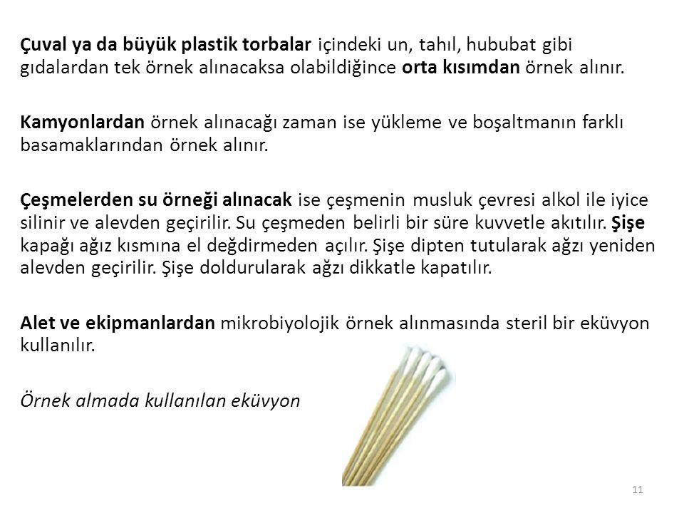 Çuval ya da büyük plastik torbalar içindeki un, tahıl, hububat gibi gıdalardan tek örnek alınacaksa olabildiğince orta kısımdan örnek alınır.