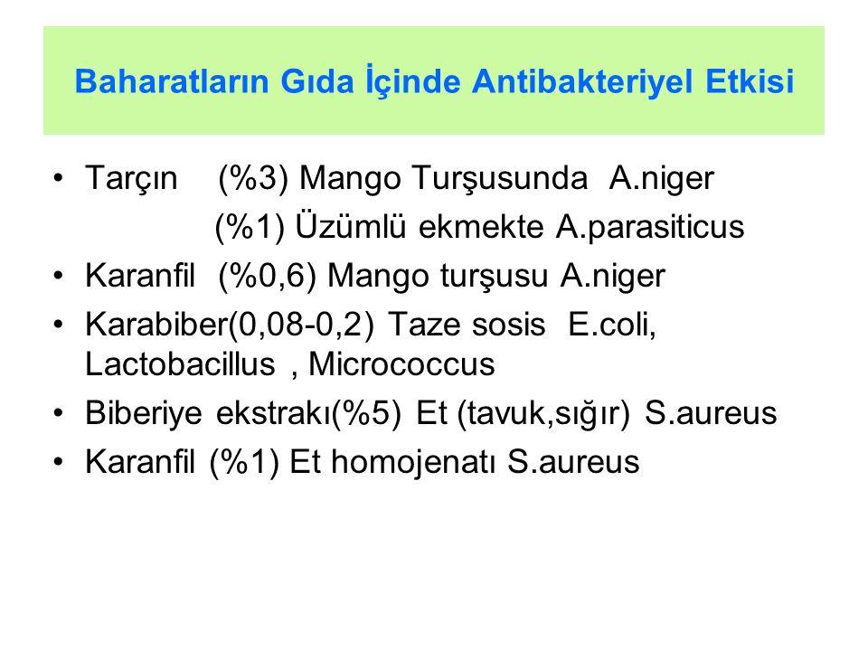 Baharatların Gıda İçinde Antibakteriyel Etkisi Tarçın (%3) Mango Turşusunda A.niger (%1) Üzümlü ekmekte A.parasiticus Karanfil (%0,6) Mango turşusu A.niger Karabiber(0,08-0,2) Taze sosis E.coli, Lactobacillus, Micrococcus Biberiye ekstrakı(%5) Et (tavuk,sığır) S.aureus Karanfil (%1) Et homojenatı S.aureus
