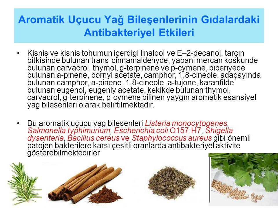 Aromatik Uçucu Yağ Bileşenlerinin Gıdalardaki Antibakteriyel Etkileri Kisnis ve kisnis tohumun içerdigi linalool ve E–2-decanol, tarçın bitkisinde bulunan trans-cinnamaldehyde, yabani mercan köskünde bulunan carvacrol, thymol, g-terpinene ve p-cymene, biberiyede bulunan a-pinene, bornyl acetate, camphor, 1,8-cineole, adaçayında bulunan camphor, a-pinene, 1,8-cineole, a-tujone, karanfilde bulunan eugenol, eugenly acetate, kekikde bulunan thymol, carvacrol, g-terpinene, p-cymene bilinen yaygın aromatik esansiyel yag bilesenleri olarak belirtilmektedir.