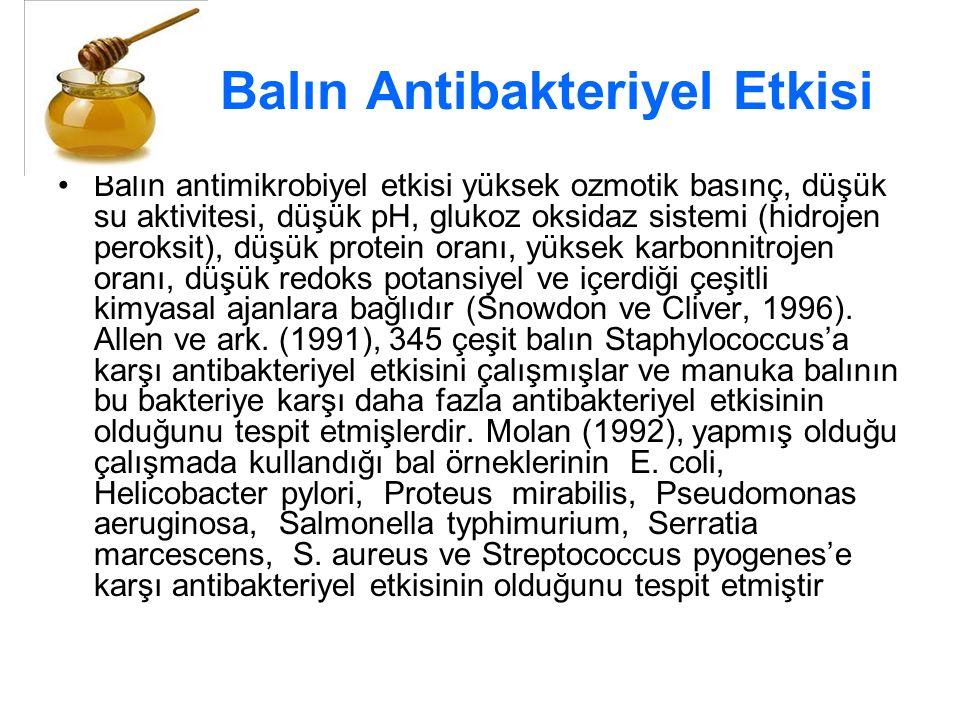 Balın Antibakteriyel Etkisi Balın antimikrobiyel etkisi yüksek ozmotik basınç, düşük su aktivitesi, düşük pH, glukoz oksidaz sistemi (hidrojen peroksit), düşük protein oranı, yüksek karbonnitrojen oranı, düşük redoks potansiyel ve içerdiği çeşitli kimyasal ajanlara bağlıdır (Snowdon ve Cliver, 1996).