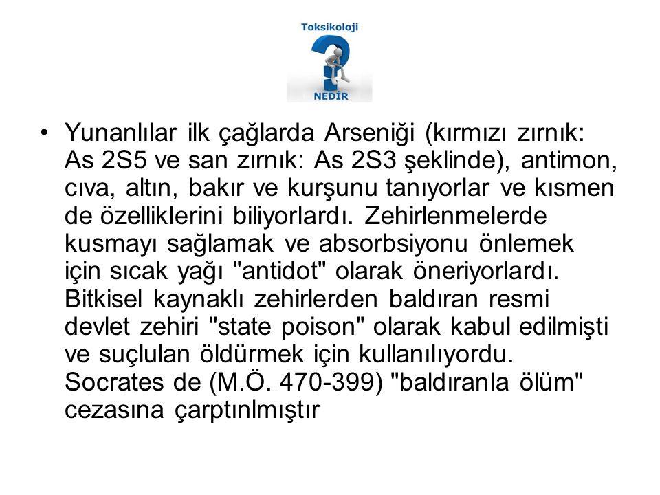 Yunanlılar ilk çağlarda Arseniği (kırmızı zırnık: As 2S5 ve san zırnık: As 2S3 şeklinde), antimon, cıva, altın, bakır ve kurşunu tanıyorlar ve kısmen