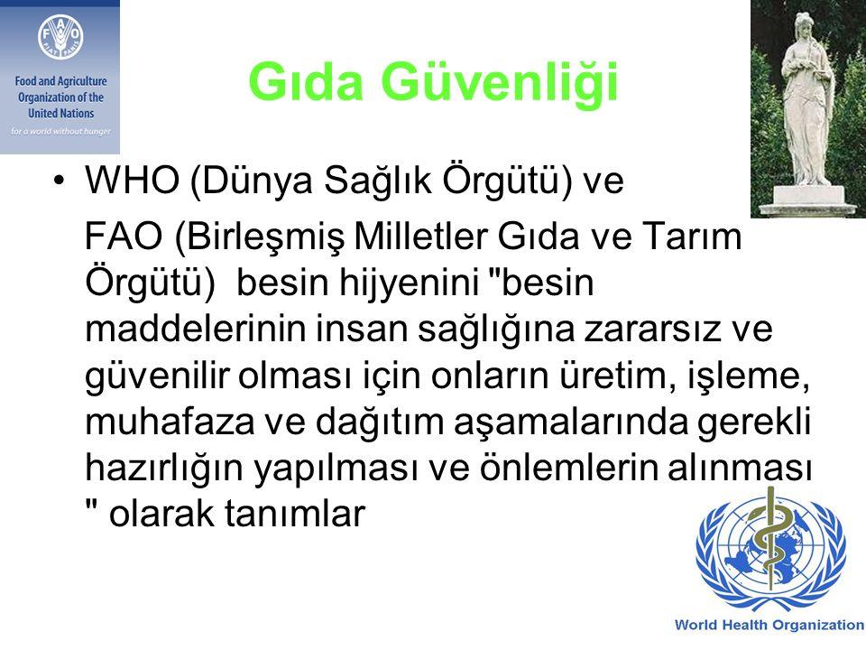 Gıda Güvenliği WHO (Dünya Sağlık Örgütü) ve FAO (Birleşmiş Milletler Gıda ve Tarım Örgütü) besin hijyenini