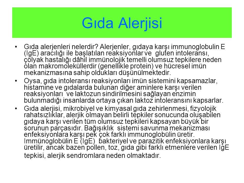 Gıda Alerjisi Gıda alerjenleri nelerdir? Alerjenler, gıdaya karşı immunoglobulin E (IgE) aracılığı ile başlatılan reaksiyonlar ve gluten intoleransı,