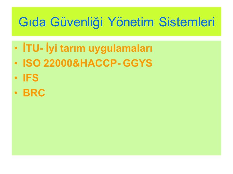 Gıda Güvenliği Yönetim Sistemleri İTU- İyi tarım uygulamaları ISO 22000&HACCP- GGYS IFS BRC