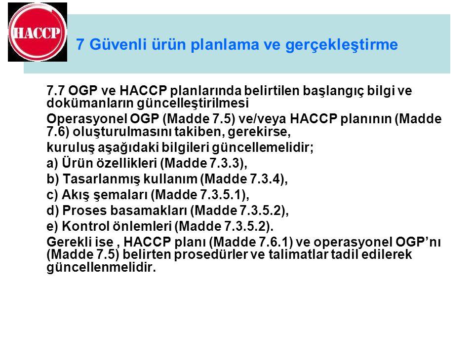 7 Güvenli ürün planlama ve gerçekleştirme 7.7 OGP ve HACCP planlarında belirtilen başlangıç bilgi ve dokümanların güncelleştirilmesi Operasyonel OGP (