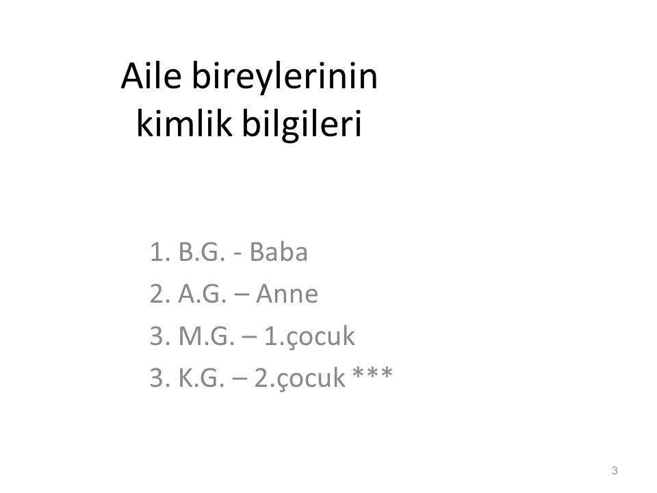 BABA : B.G.1970 doğumlu – 44 yaşında Saimbeyli, Adana doğumlu Ortaokul mezunu SGK Site görevlisi.
