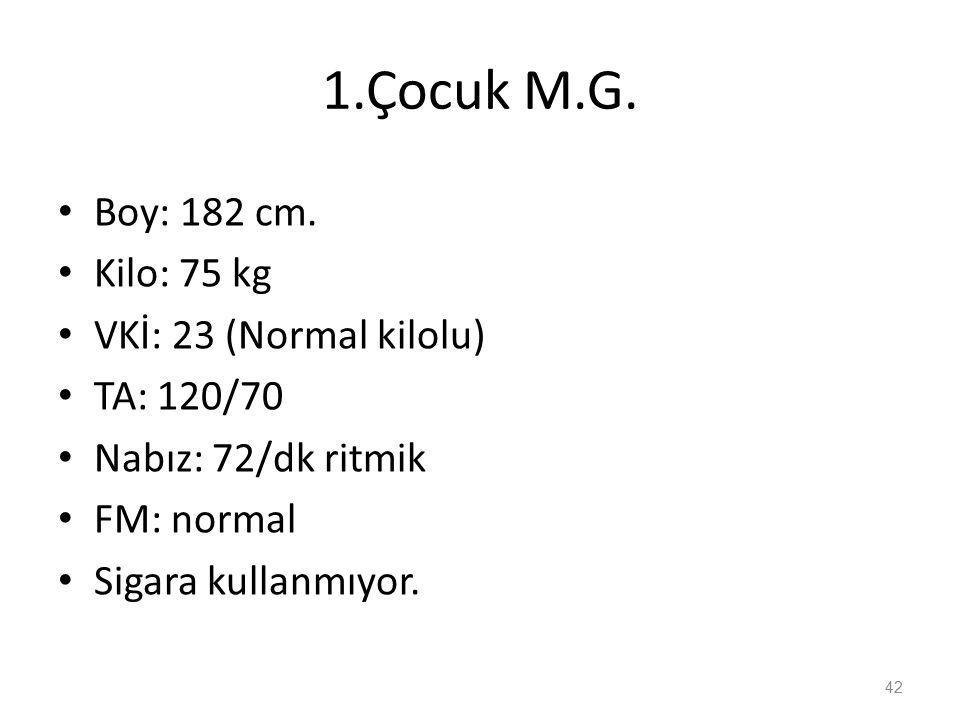1.Çocuk M.G. Boy: 182 cm.