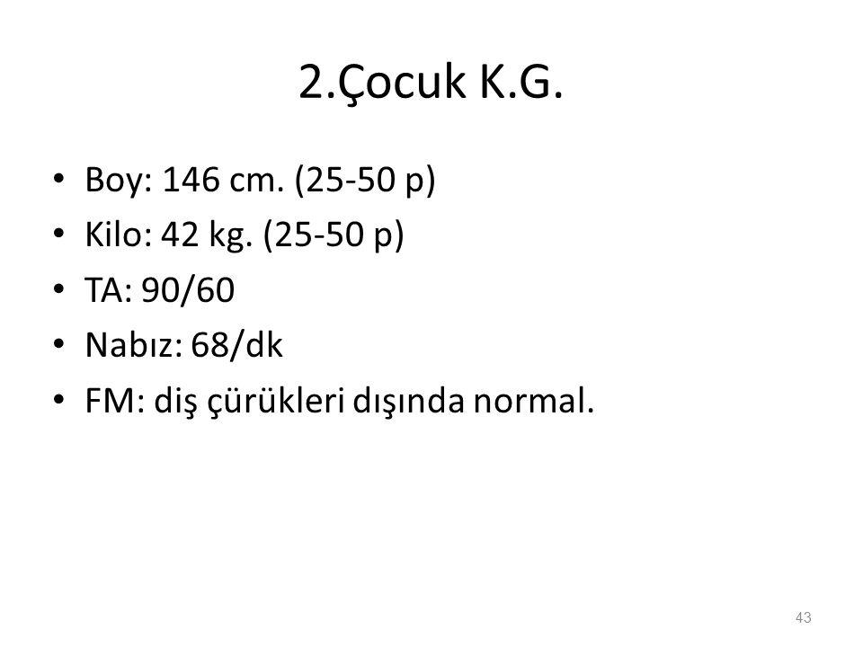 2.Çocuk K.G. Boy: 146 cm. (25-50 p) Kilo: 42 kg.