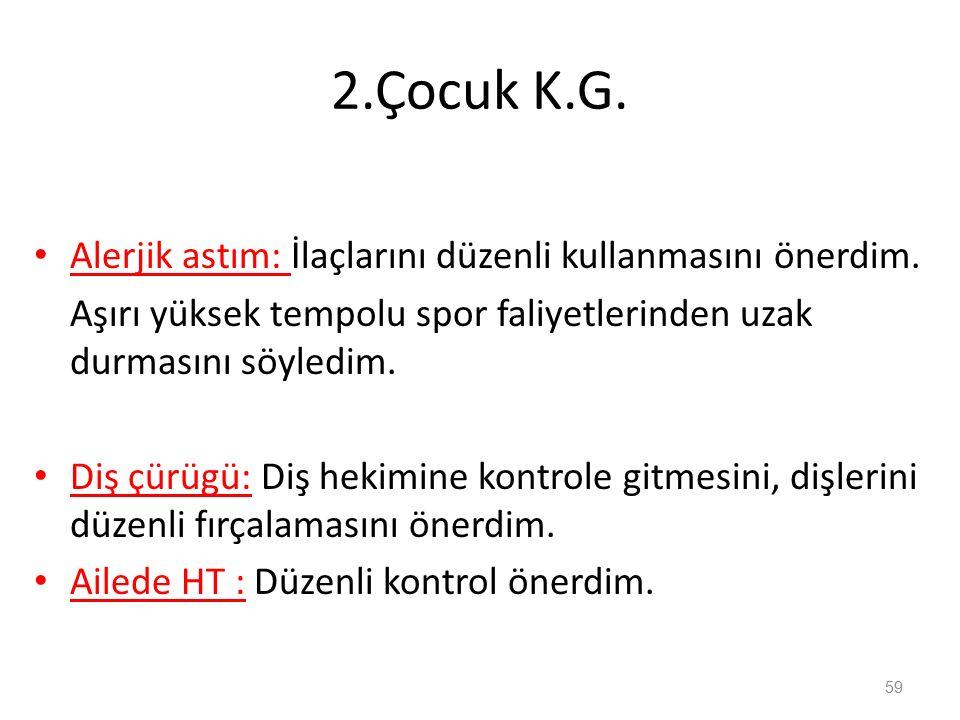 2.Çocuk K.G. Alerjik astım: İlaçlarını düzenli kullanmasını önerdim.