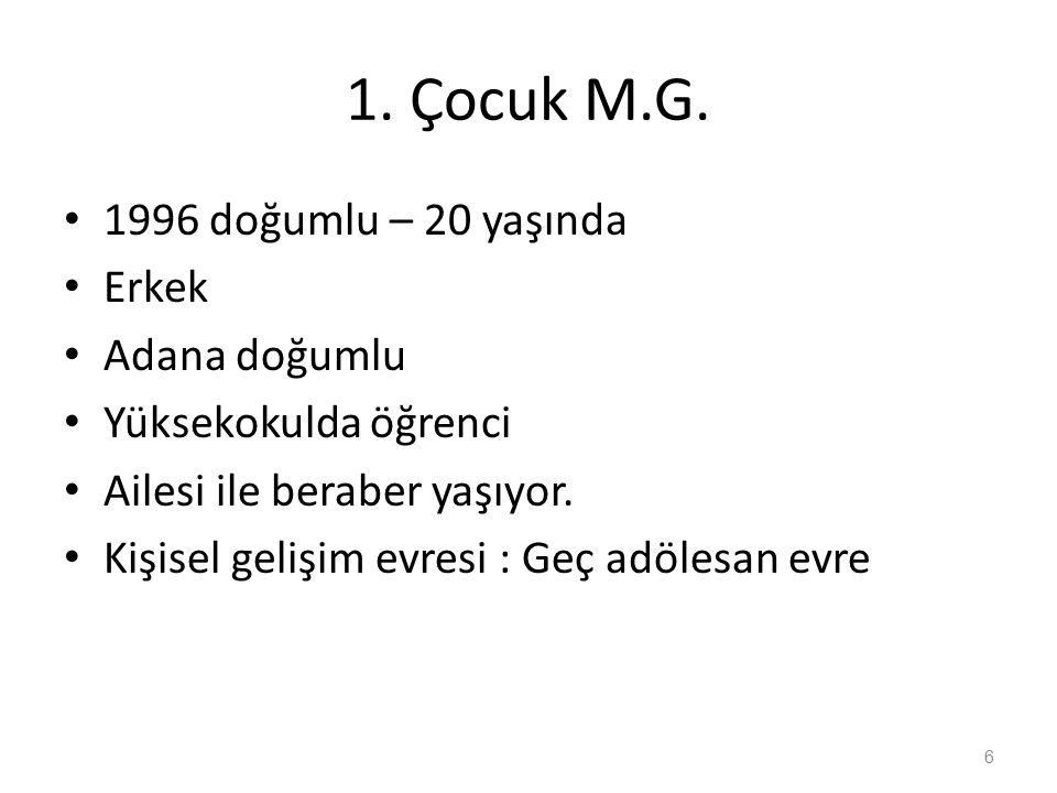 2.ÇOCUK : K.G. 2004 doğumlu – 12 yaşında Erkek Adana doğumlu 6.