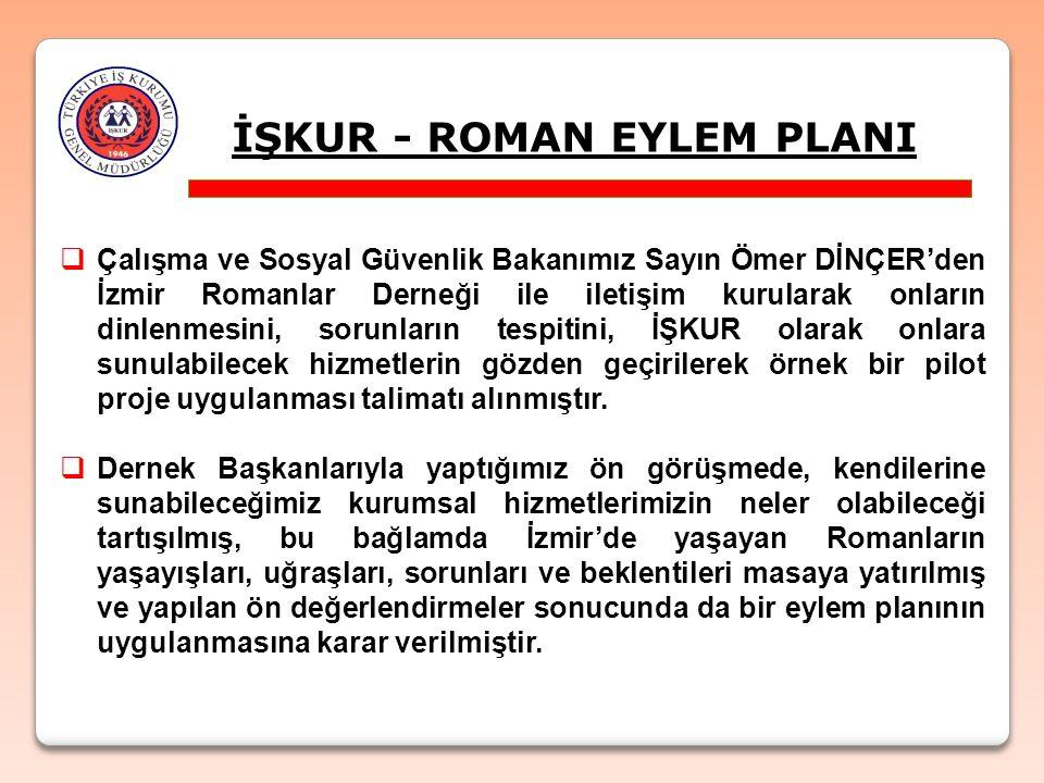 İŞKUR - ROMAN EYLEM PLANI  Çalışma ve Sosyal Güvenlik Bakanımız Sayın Ömer DİNÇER'den İzmir Romanlar Derneği ile iletişim kurularak onların dinlenmes