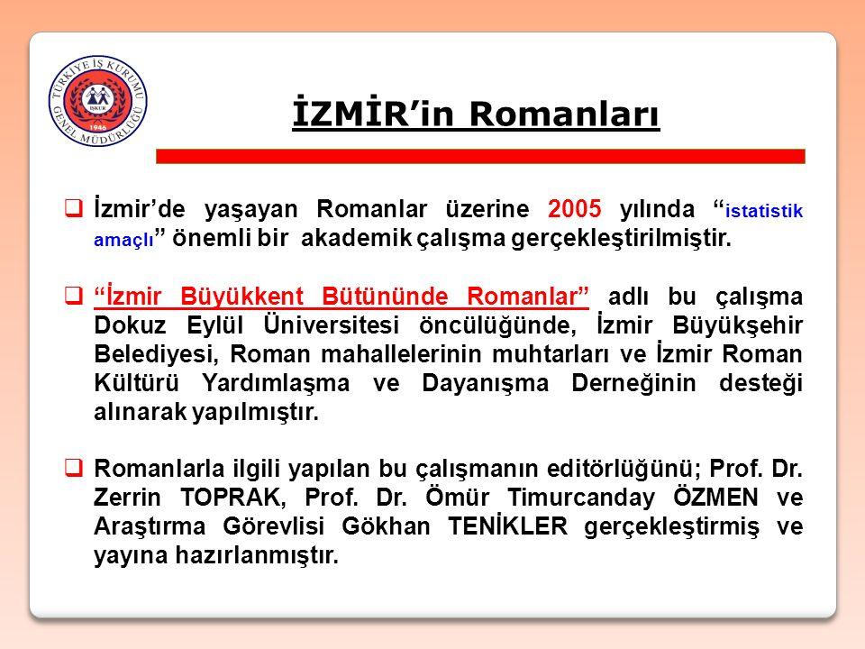 """İZMİR'in Romanları  İzmir'de yaşayan Romanlar üzerine 2005 yılında """" istatistik amaçlı """" önemli bir akademik çalışma gerçekleştirilmiştir.  """"İzmir B"""