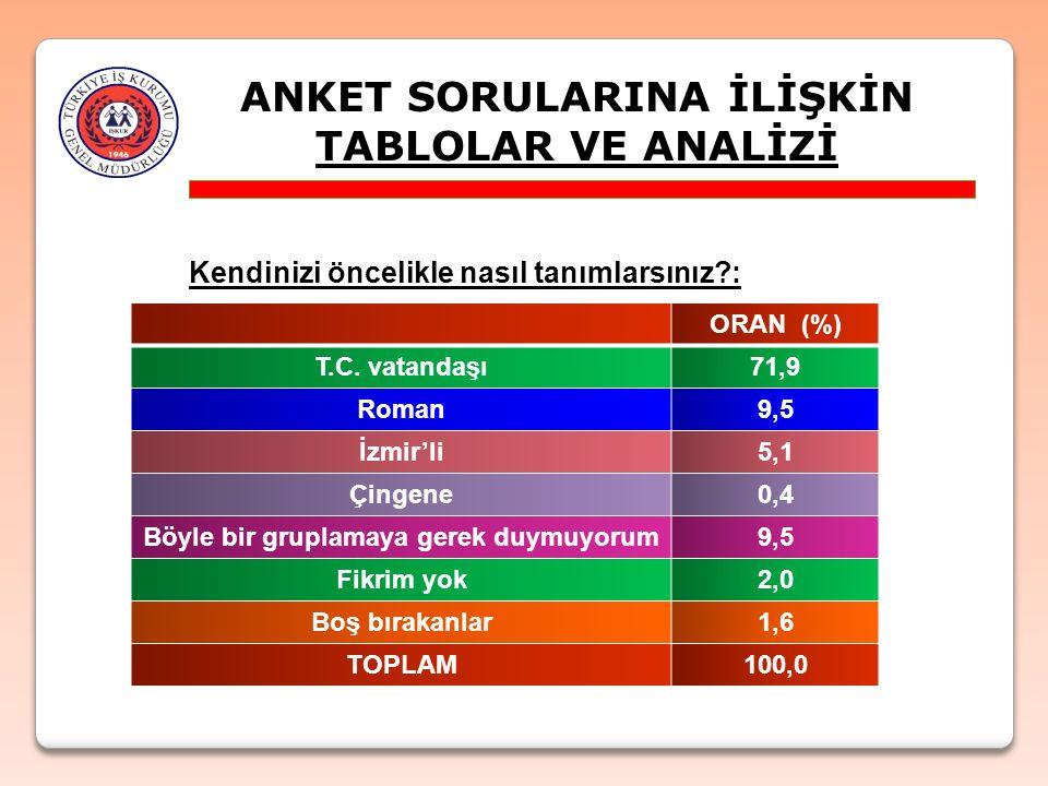 ANKET SORULARINA İLİŞKİN TABLOLAR VE ANALİZİ Kendinizi öncelikle nasıl tanımlarsınız?: ORAN (%) T.C. vatandaşı71,9 Roman9,5 İzmir'li5,1 Çingene0,4 Böy