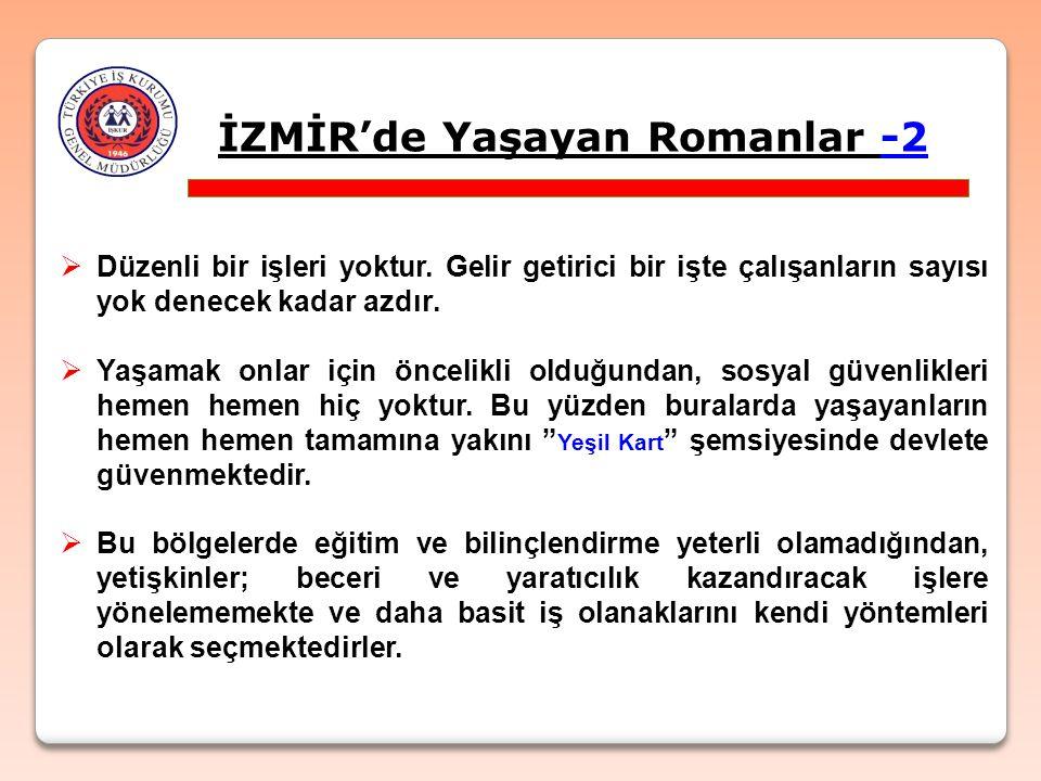 İZMİR'de Yaşayan Romanlar -2  Düzenli bir işleri yoktur.