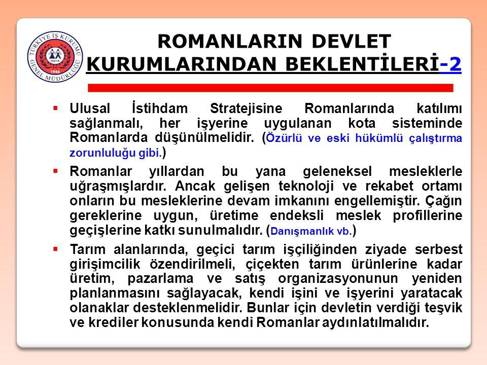 ROMANLARIN DEVLET KURUMLARINDAN BEKLENTİLERİ-2  Ulusal İstihdam Stratejisine Romanlarında katılımı sağlanmalı, her işyerine uygulanan kota sisteminde Romanlarda düşünülmelidir.