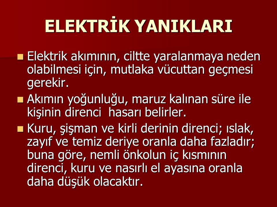 ELEKTRİK YANIKLARI Elektrik akımının, ciltte yaralanmaya neden olabilmesi için, mutlaka vücuttan geçmesi gerekir. Elektrik akımının, ciltte yaralanmay