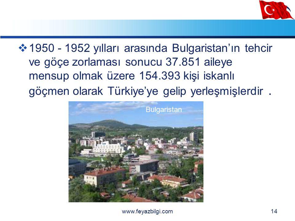 LOGO 13  1925 yılındaki Türk - Bulgar ikamet sözleşmesi ile 1949 yılına kadar 19.833 ailede 75.877 kişi iskanlı, 37.073 ailede 143.121 kişi serbest göçmen olmak üzere toplam 56.906 ailede 218.998 kişi Türkiye'ye göç etmiştir.