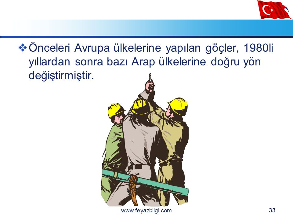 LOGO 32 Türkiye de işçi göçünün zaman içinde hızla arttığı görülmektedir.