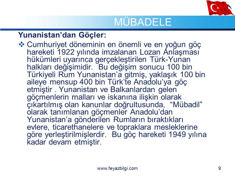 LOGO 8  Cumhuriyet Dönemi Göçleri www.feyazbilgi.com