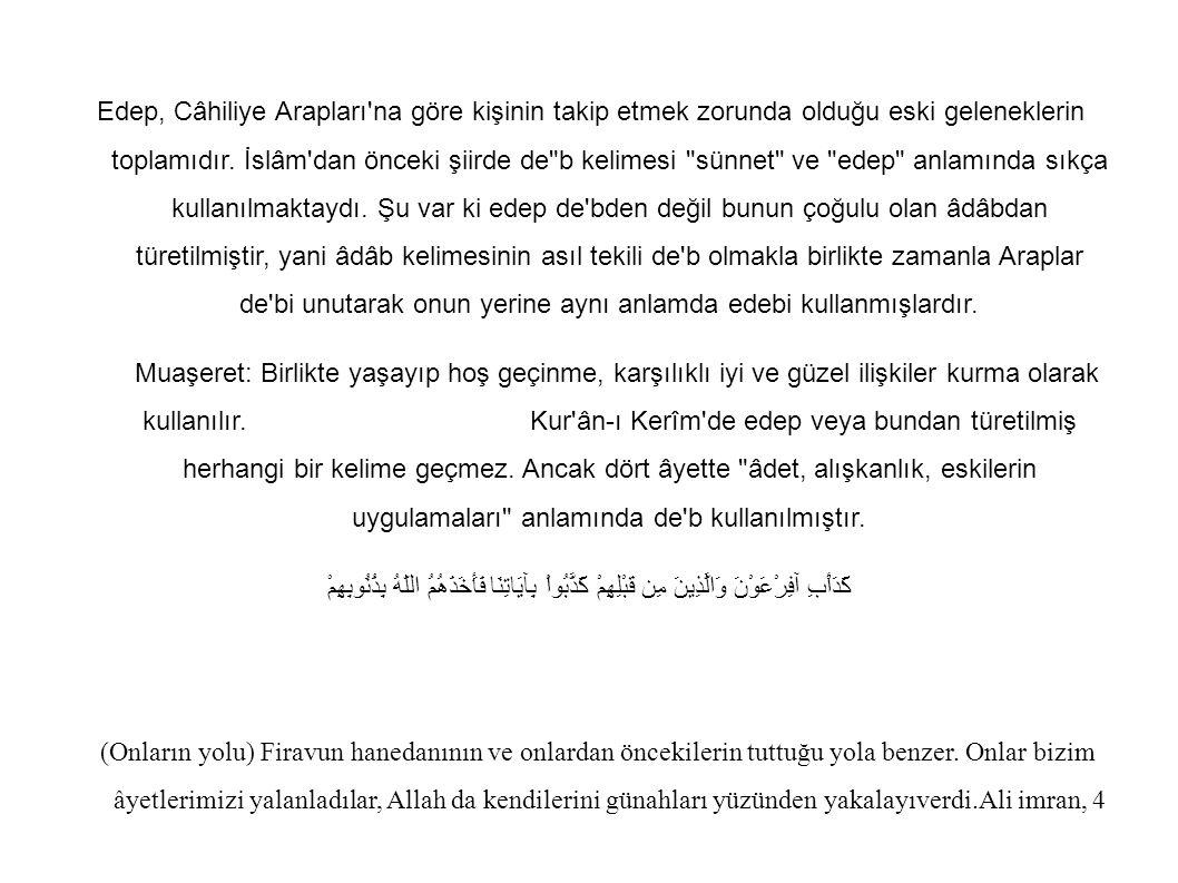 Edep, Câhiliye Arapları'na göre kişinin takip etmek zorunda olduğu eski geleneklerin toplamıdır. İslâm'dan önceki şiirde de