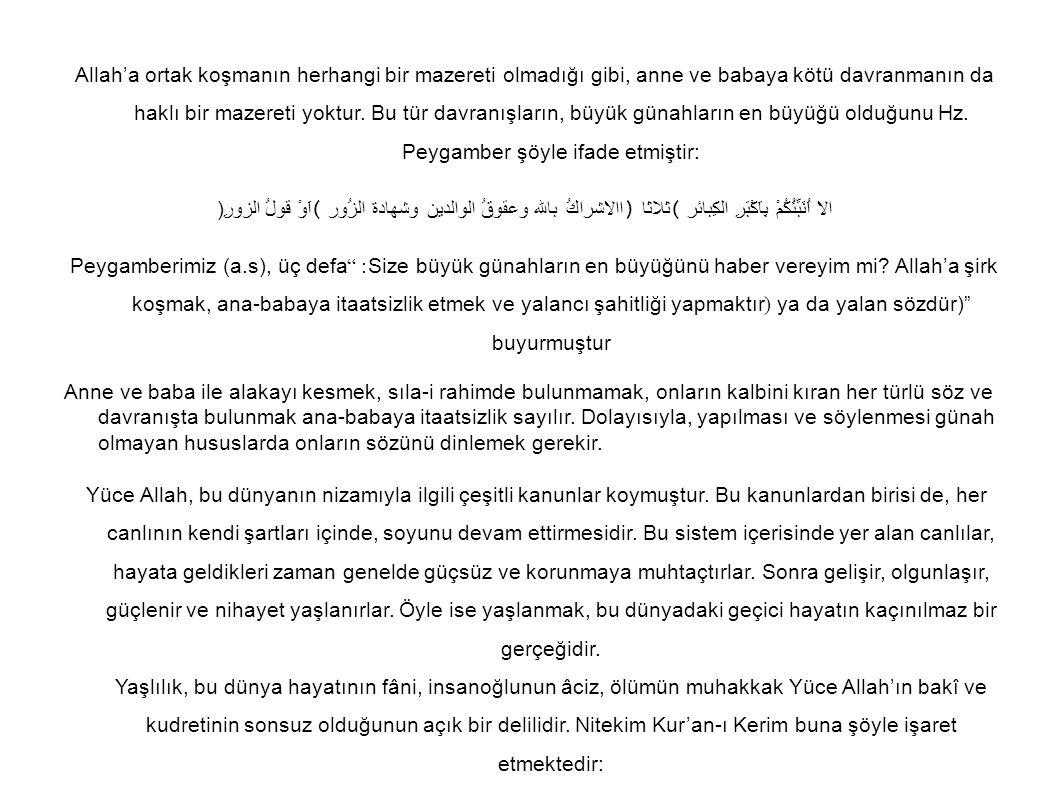 Allah'a ortak koşmanın herhangi bir mazereti olmadığı gibi, anne ve babaya kötü davranmanın da haklı bir mazereti yoktur. Bu tür davranışların, büyük