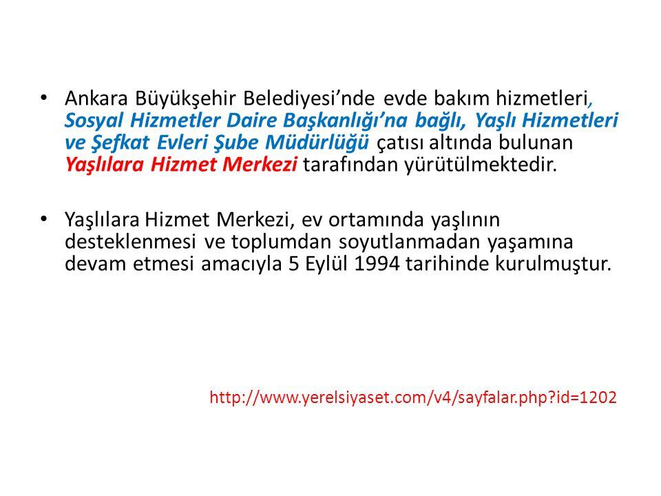 Ankara Büyükşehir Belediyesi'nde evde bakım hizmetleri, Sosyal Hizmetler Daire Başkanlığı'na bağlı, Yaşlı Hizmetleri ve Şefkat Evleri Şube Müdürlüğü ç