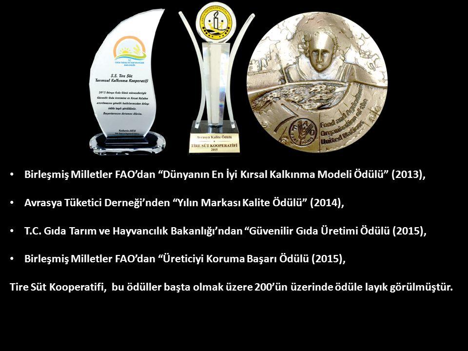 """Birleşmiş Milletler FAO'dan """"Dünyanın En İyi Kırsal Kalkınma Modeli Ödülü"""" (2013), Avrasya Tüketici Derneği'nden """"Yılın Markası Kalite Ödülü"""" (2014),"""
