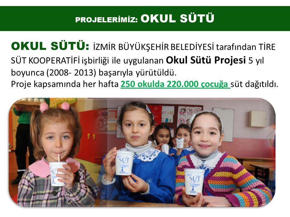 OKUL SÜTÜ: İZMİR BÜYÜKŞEHİR BELEDİYESİ tarafından TİRE SÜT KOOPERATİFİ işbirliği ile uygulanan Okul Sütü Projesi 5 yıl boyunca (2008- 2013) başarıyla yürütüldü.