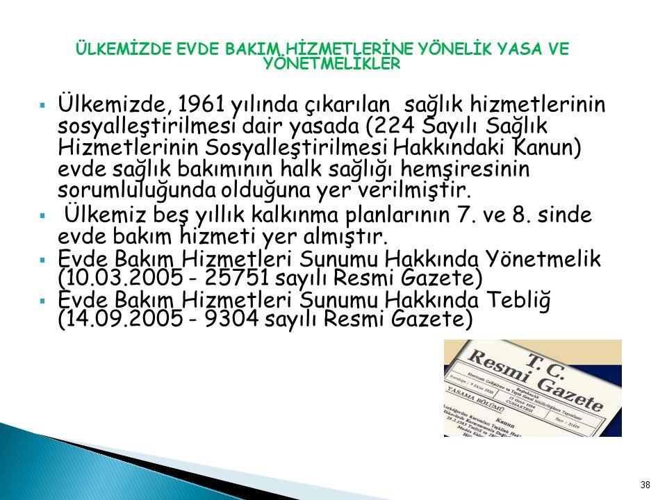 ÜLKEMİZDE EVDE BAKIM HİZMETLERİNE YÖNELİK YASA VE YÖNETMELİKLER  Ülkemizde, 1961 yılında çıkarılan sağlık hizmetlerinin sosyalleştirilmesi dair yasad