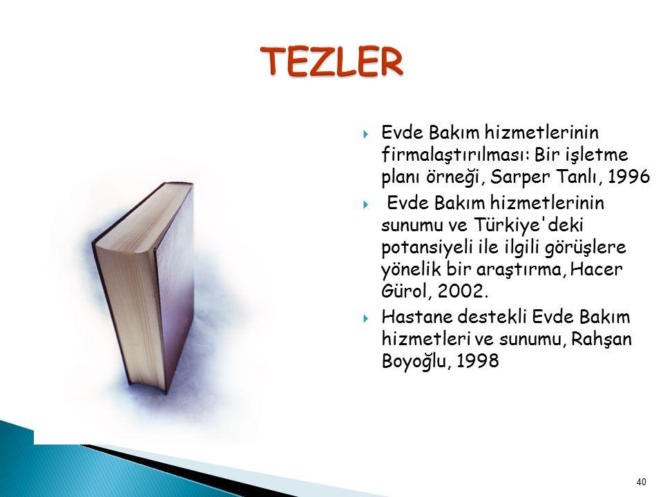 40  Evde Bakım hizmetlerinin firmalaştırılması: Bir işletme planı örneği, Sarper Tanlı, 1996  Evde Bakım hizmetlerinin sunumu ve Türkiye'deki potans