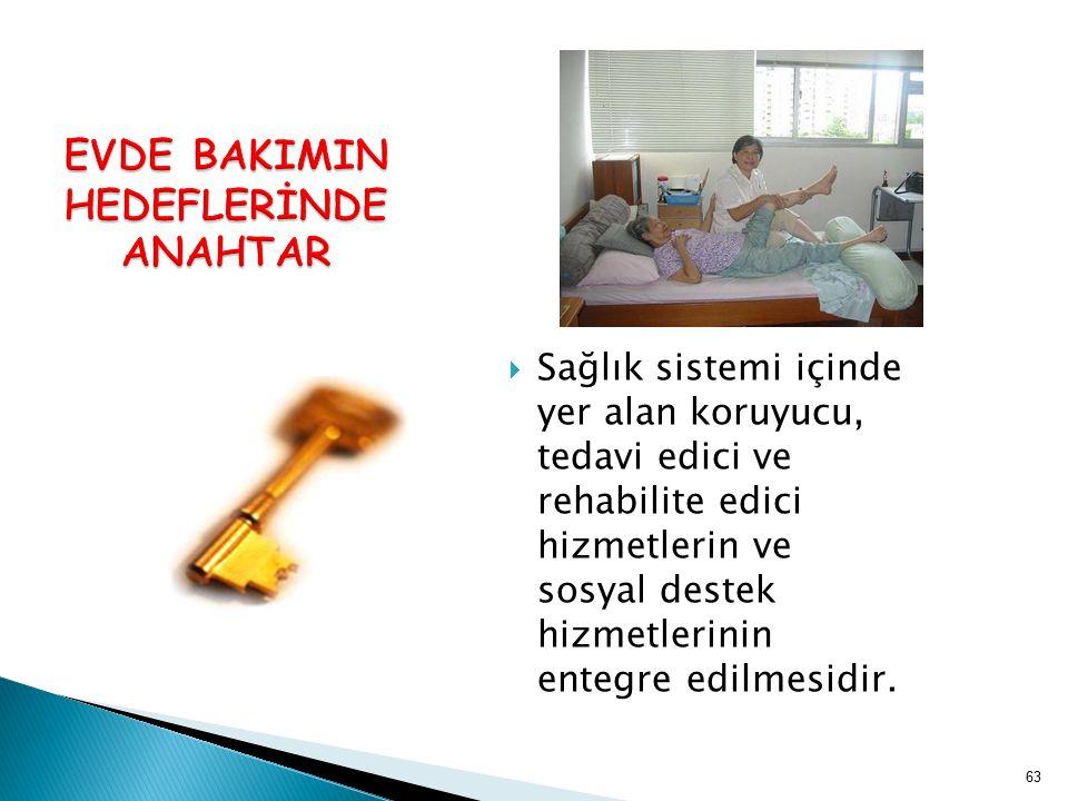  Sağlık sistemi içinde yer alan koruyucu, tedavi edici ve rehabilite edici hizmetlerin ve sosyal destek hizmetlerinin entegre edilmesidir. 63