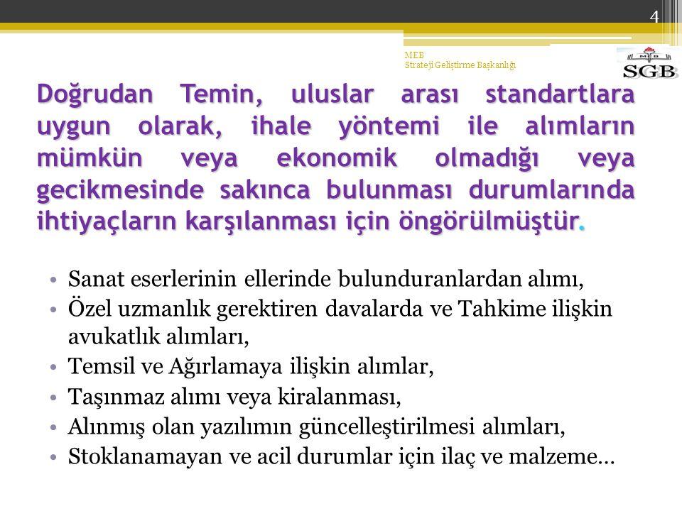 4 Doğrudan Temin, uluslar arası standartlara uygun olarak, ihale yöntemi ile alımların mümkün veya ekonomik olmadığı veya gecikmesinde sakınca bulunması durumlarında ihtiyaçların karşılanması için öngörülmüştür.