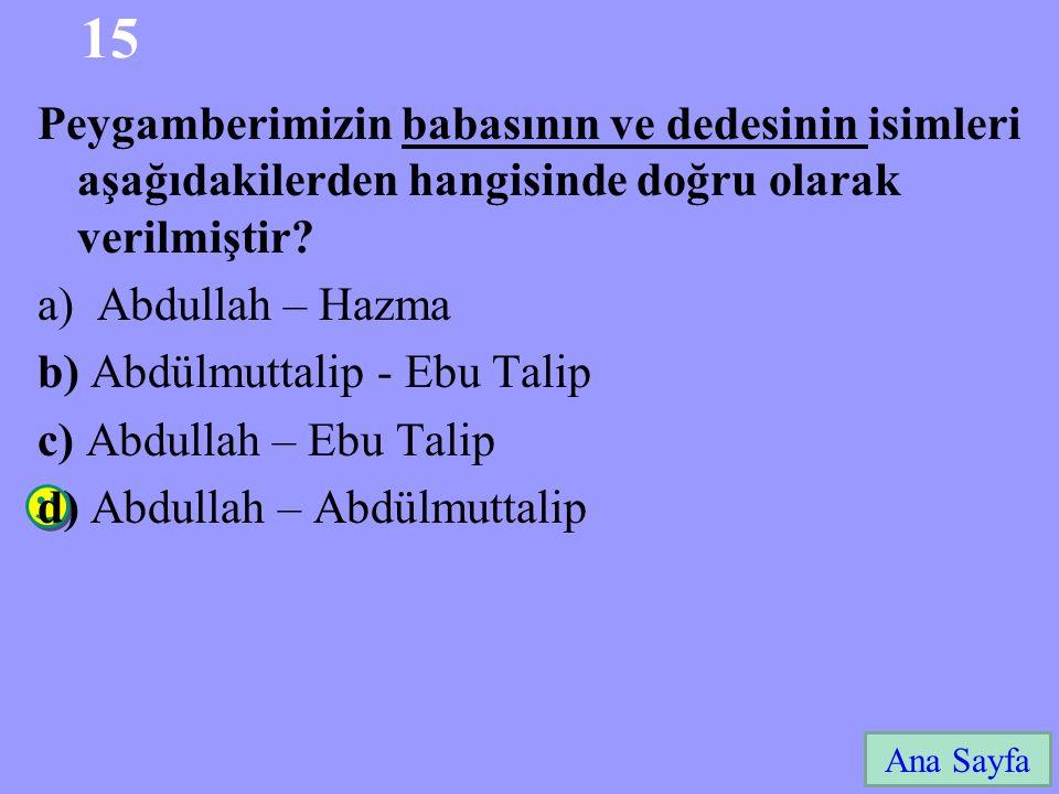 15 Ana Sayfa Peygamberimizin babasının ve dedesinin isimleri aşağıdakilerden hangisinde doğru olarak verilmiştir? a)Abdullah – Hazma b) Abdülmuttalip