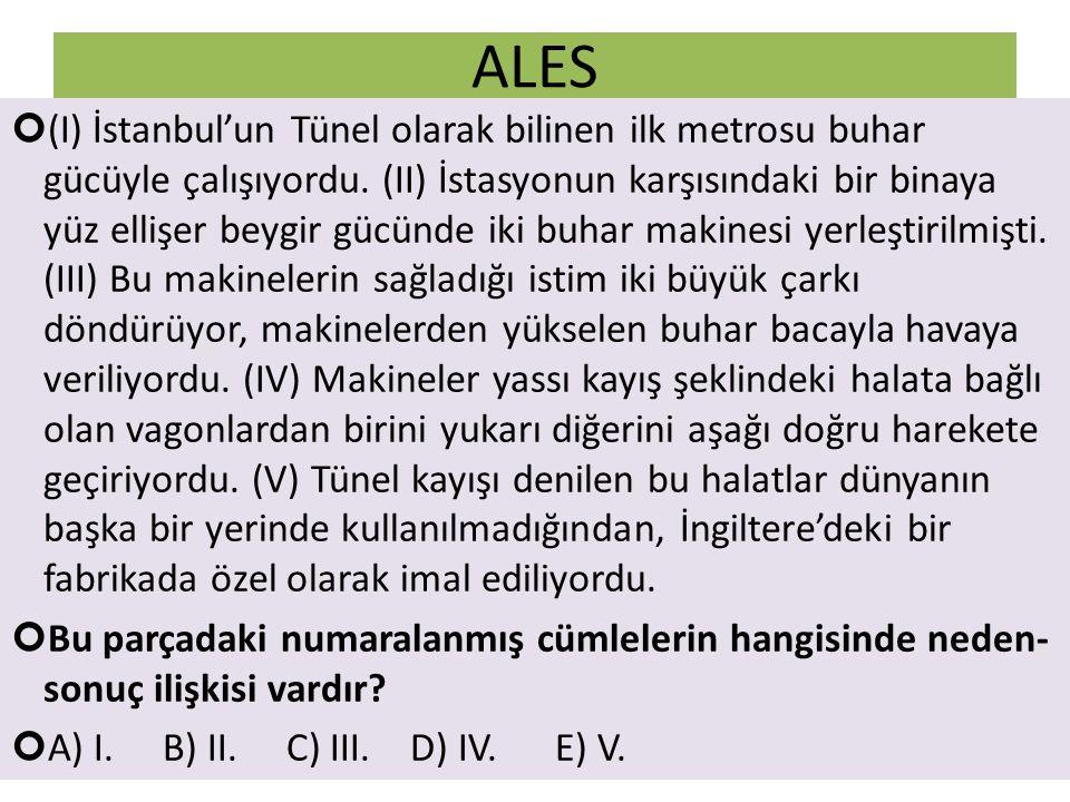 ALES (I) İstanbul'un Tünel olarak bilinen ilk metrosu buhar gücüyle çalışıyordu. (II) İstasyonun karşısındaki bir binaya yüz ellişer beygir gücünde ik
