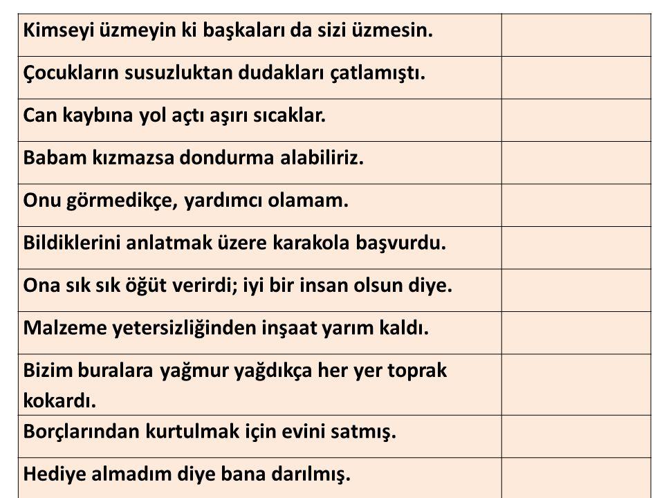 -24- Aşağıdakilerden hangisi amaç-sonuç ilişkisi taşıyan bir cümledir.