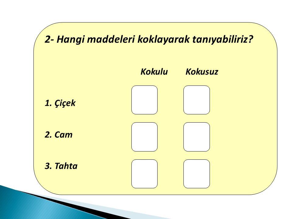 2- Hangi maddeleri koklayarak tanıyabiliriz? Kokulu Kokusuz 1. Çiçek 2. Cam 3. Tahta