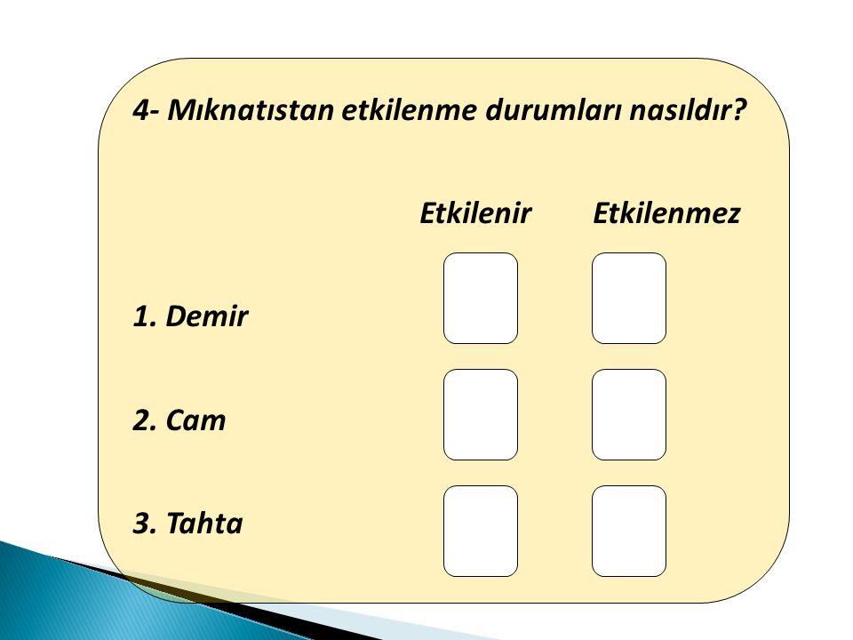 4- Mıknatıstan etkilenme durumları nasıldır? Etkilenir Etkilenmez 1. Demir 2. Cam 3. Tahta